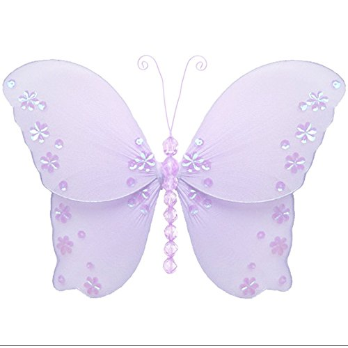 """Hanging Butterfly 5"""" Small Purple Lavender Twinkle Nylon Mesh Butterflies Decorations Decorate Baby Nursery Bedroom Girls Room Ceiling Wall Decor Wedding Birthday Party Baby Shower Bathroom 3D Art DIY"""