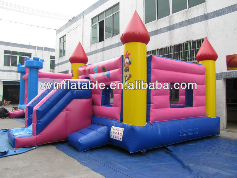 inflatable clown cartoon bounce house / jumping house with water slide combo