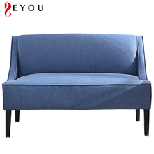 Simple Japanese blue fabric upholstery wooden living room sofa lounge minimalist sleeping couch