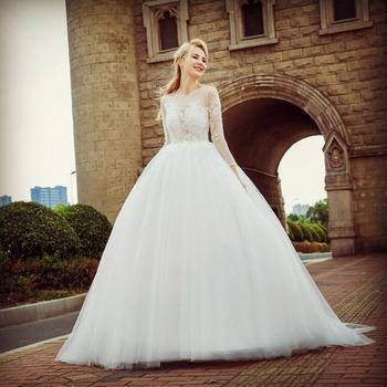 2018 Wholesale Newest Design Gorgeous Luxury Lace Long Sleeve Long ...