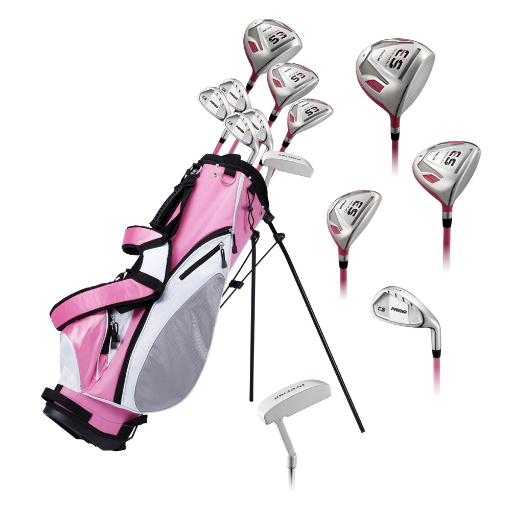 "Precise ES Ladies Womens Complete Right Handed Golf Clubs Set Includes Titanium Driver, S.S. Fairway, S.S. Hybrid, S.S. 7-PW Irons, Putter, Stand Bag, 3 H/C's Pink - Choose Size! (Petite Size -1"")"