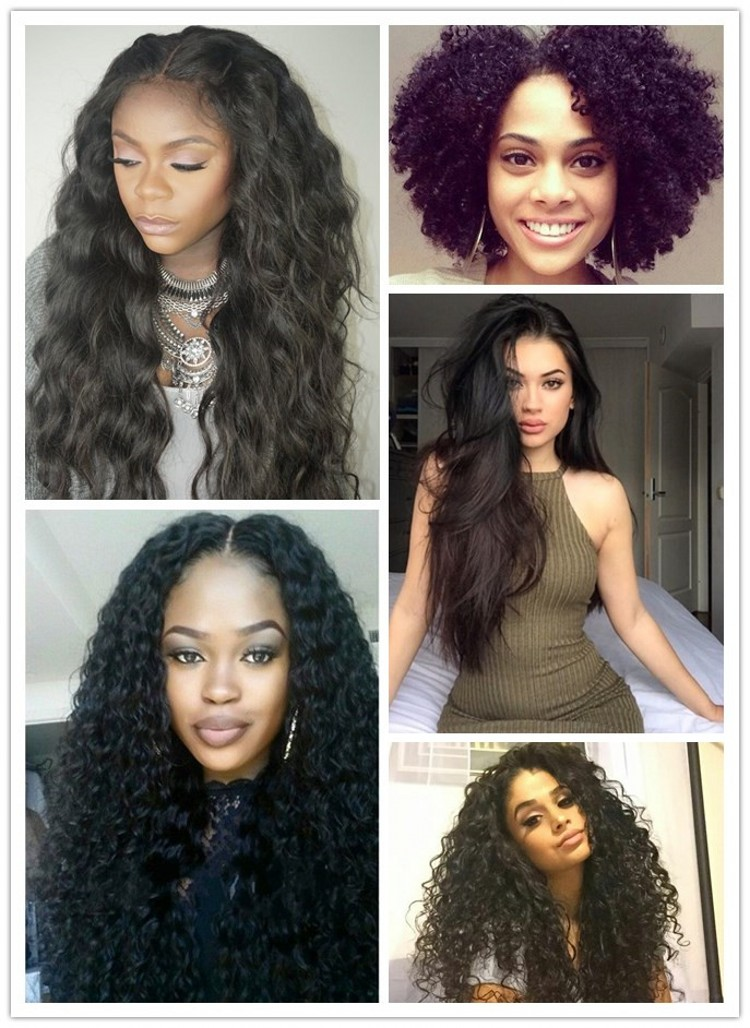 Malaysian Virgin Human Hair Kinky Straight 360 Lace Frotnal Closure with 3 / 4 Bundles for Black Women