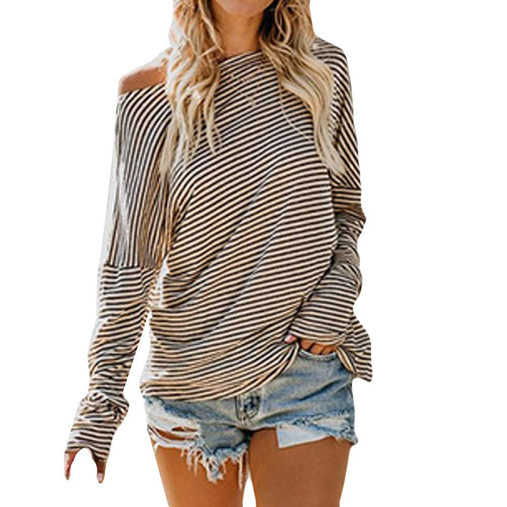 Womens Tunic Tops Long Sleeve Plus Size Women's Long Sleeve Striped Print Hooded Fashion T-Shirt Top Blouse