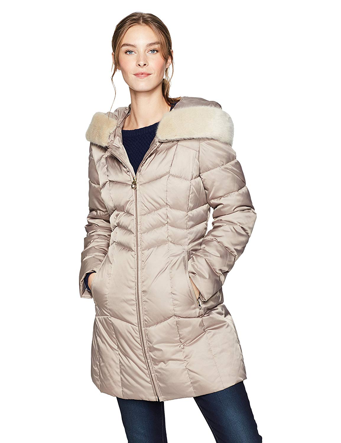 533a55206f4 Get Quotations · Haven Outerwear Women s Chevron Puffer Coat with Faux Fur  Trim