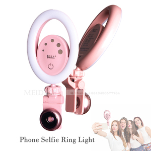 Yidoblo Cellphone Selfie Ring Light with Wide Lens, 5-Level Brightness Dimmable Clip on Ring Fill Light for Ipad/Laptop