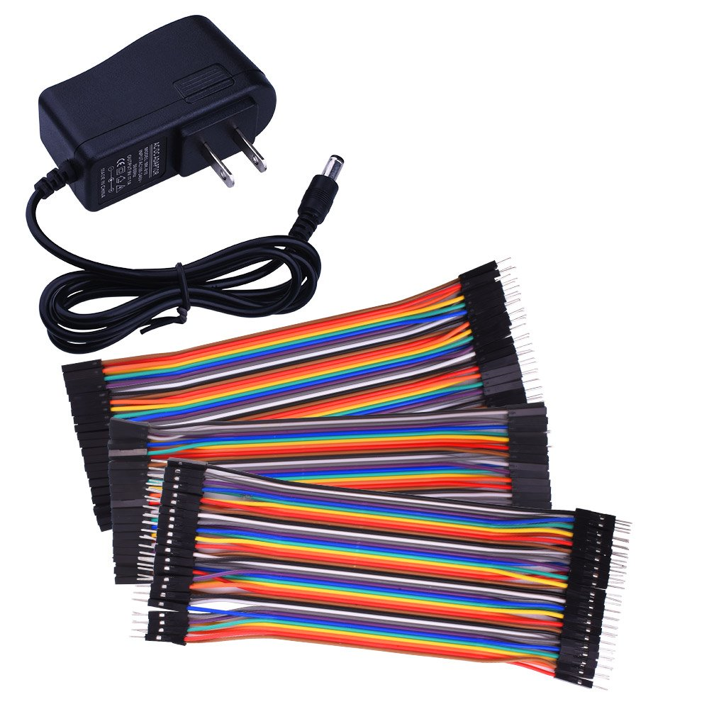 for Arduino starter kit Saint-tech Power Supply Wall Adapter 9V AC to DC 1A + 120pcs Multicolored Jumper Wires Ribbon Cable 40pin Male to Female 40pin Male to Male 40pin Female to Female K72