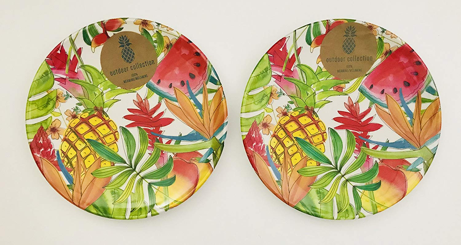 Sets Of 4 Or 2 | Colorful Tropical Fruits Pineapple | Watermelon | Flowers Melamine Serving Bowl | Dinner | Lunch | Salad | Dessert Plates | Sturdy | Heavy (Set Of 2 Dinner Plates | 10.5 inches)
