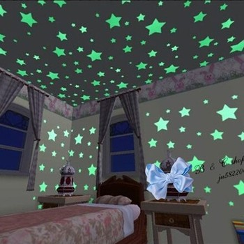 100pcs home glow in the dark stars wall stickers decal for kids baby