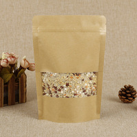 7 sizes brown kraft window bag aluminum foil paper packaging bags for packing food