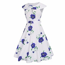 Delle Donne di modo Retro Dress Vintage Rose Stampa Rockabilly Party Swing <span class=keywords><strong>Vestito</strong></span> Viola/Blu/Rosso