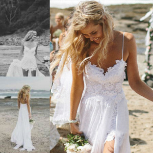 ZH0192G Vintage Sexy Lace Wedding Dresses Spaghetti Strap Bridal Gowns Party Maxi Dress
