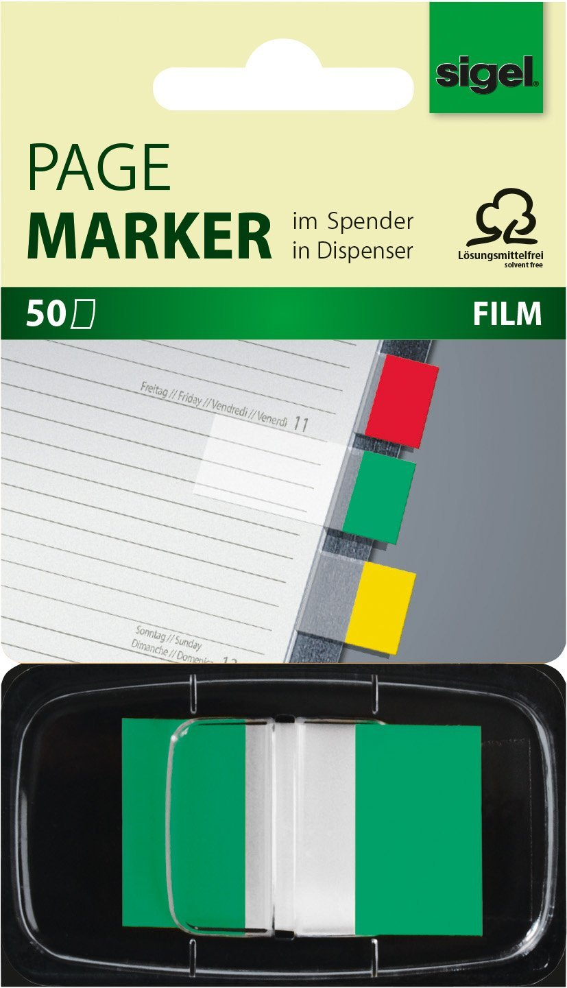 Sigel HN493 Z-Markers, Sticky Flags, Page Markers, Index Tab Flags, Film, removable, transparent with green tip, 0.98 x 1.69 inches, 50 strips in a convenient mini-dispenser