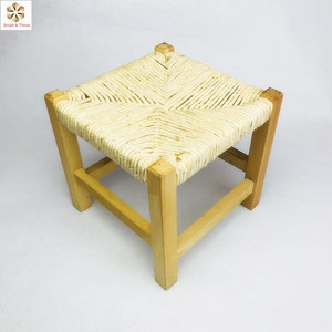 Astonishing Vintage Rush Small Straw Seat Wooden Chair Stool Gamerscity Chair Design For Home Gamerscityorg