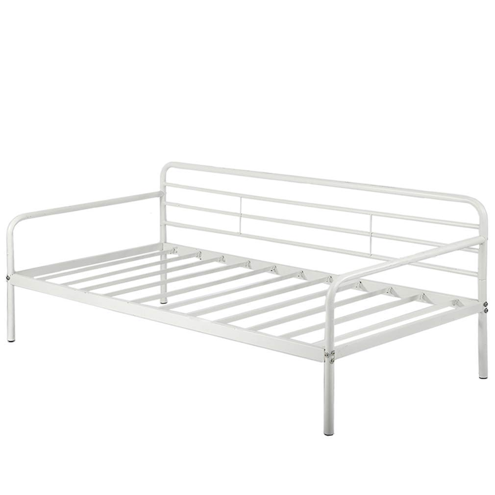 Daybed Frame Twin Steel Slats Platform Metal Daybed Base Box Spring Replacement Children Bed Sofa Living Room Guest Room White Heavy Duty