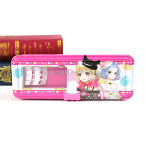 Hot sale promotion tinplate custom printed kids cute pen case for school tin box