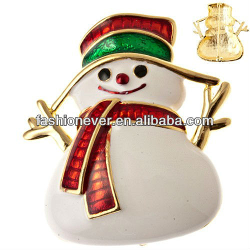 Christmas Jewelry White Snowman Red Scarf Holiday Spirit Charm Brooch