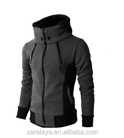 Newest Arrival Double Zipper Hooded Jacket Turtleneck Fleece Hoodie Coat