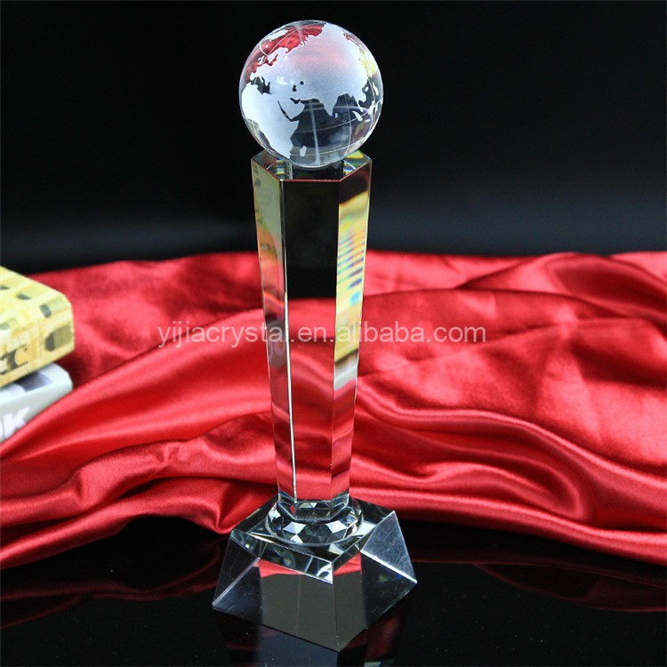 New Design 2016 Crystal Souvenir Wholesale Earth Shaped Crystal Award