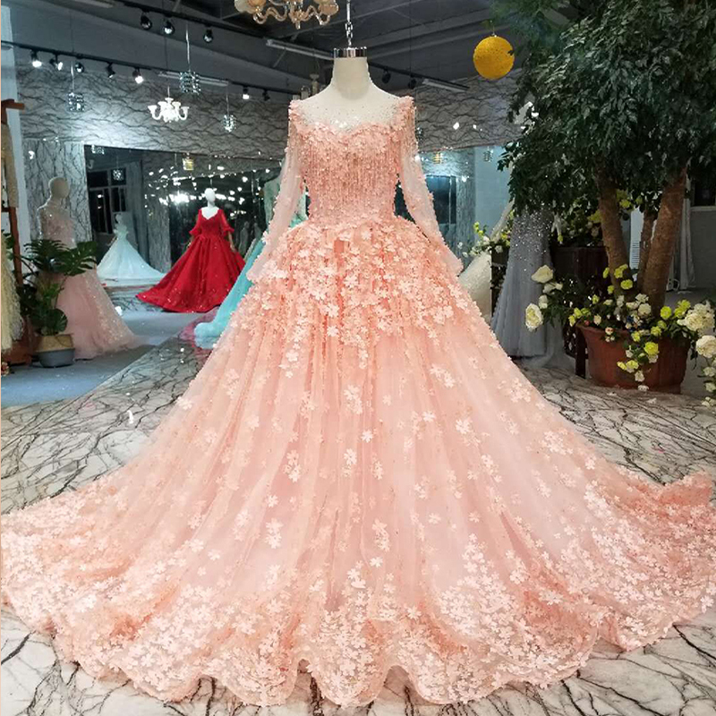 LSS197 pink girls pageant dresses long tulle sleeves o neck floor length 3d petal lace flowers prom dress cheap evening dresses
