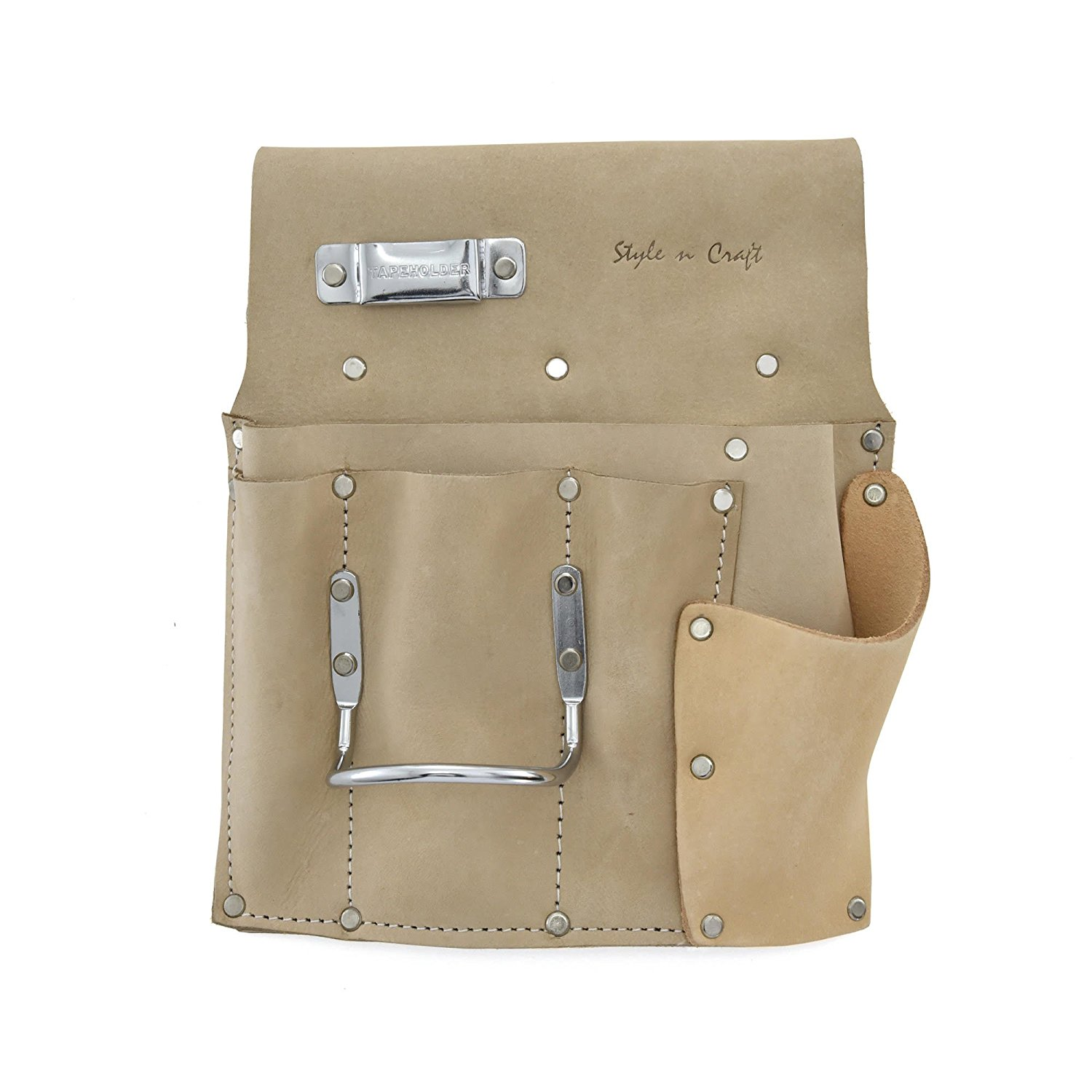 Style n Craft 92-485L 6 Pocket Drywall Hanger's Tool Pouch in Heavy Duty Grey Top Grain Leather for left handers