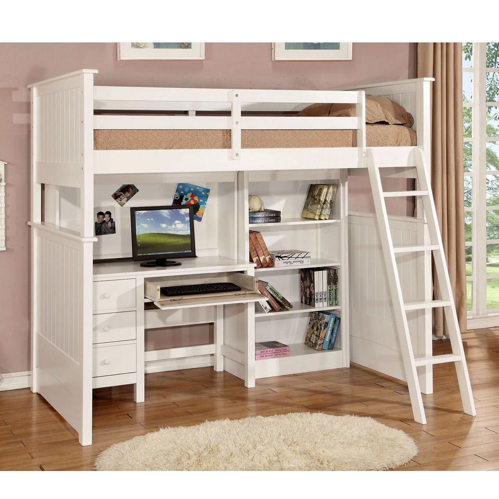 1PerfectChoice Youth Kids Workstation Computer Desk Hutch Bookcase Twin Loft Bed Convert Bunk