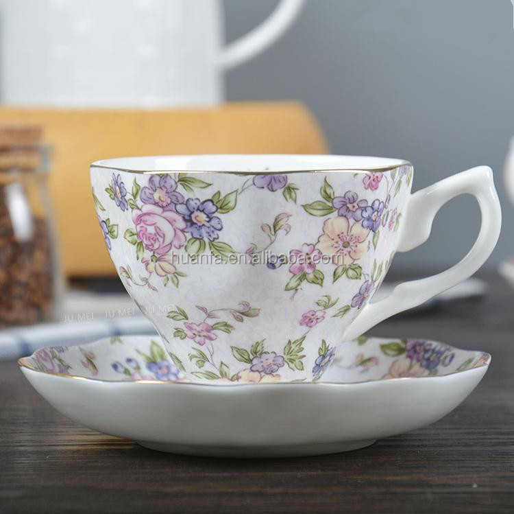 Bulk item 200ML personalized fine bone china porcelain coffee tea cup sets with saucer