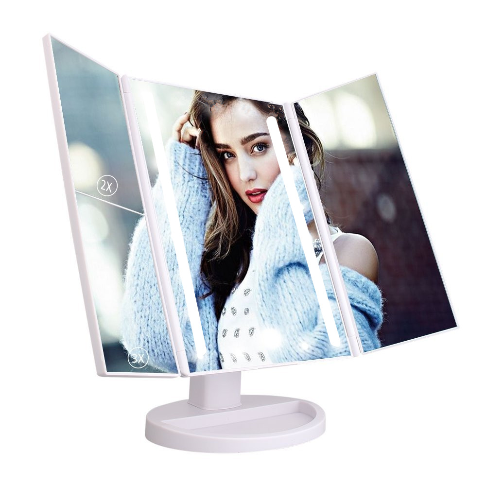Desktop square portable pantone color makeup vanity beauty led mirror
