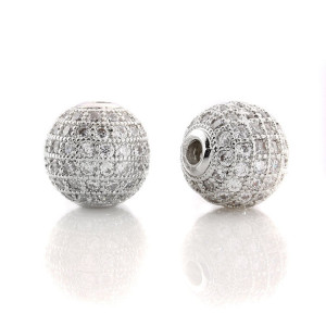 Fashion design jewelry findings spacer beads gold plated cz micro pave beads for jewelry making