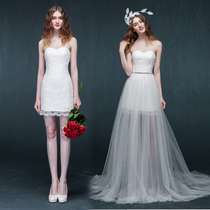 2016 New Creative Detachable Skirt High Low Prom Wedding Dress - Buy ...