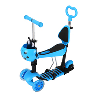 3-in-1 Kids Removable Seat Push Kick Scooter with 3 LED Flashing Wheels
