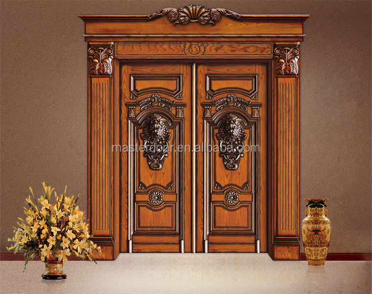 South indian modern solid wood front safety door designs for Front double door designs indian houses