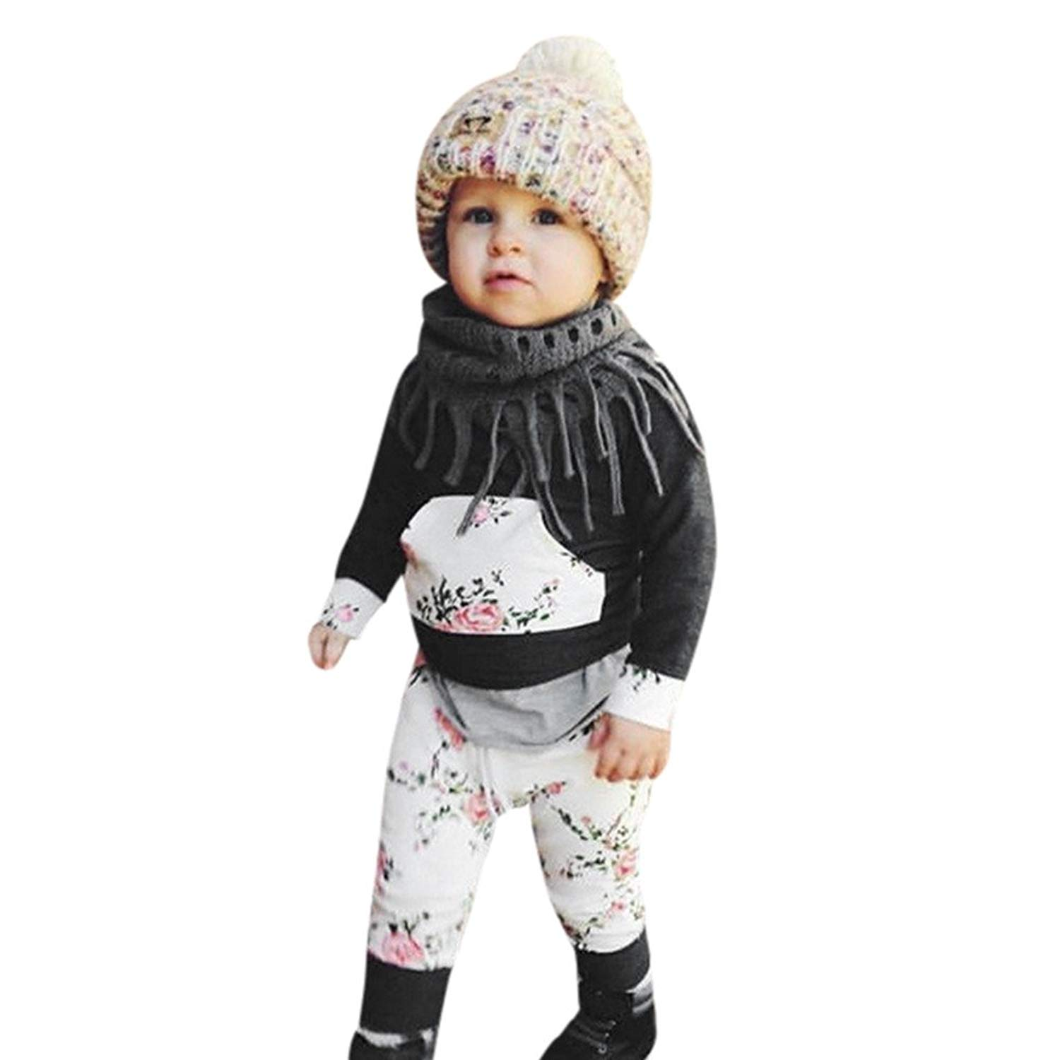 e919677ddaad Get Quotations · 0-24 Months 2pcs Baby Boys Girls Clothes Long Sleeve  Floral Hoodie Tops Pants Sweatshirt