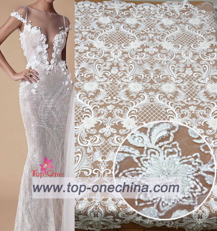 white wedding bridal dress <strong>lace</strong> 3d beaded dress <strong>dubai</strong> <strong>lace</strong> fabric