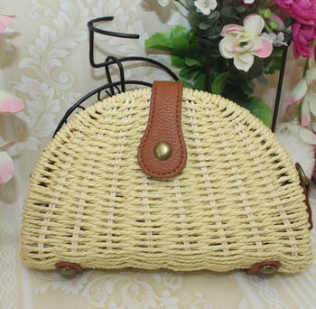 Seven plait single shoulder style bag decorative basket paper straw beach bag for wholesalers