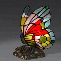 Antique tiffany butterfly lamps beauty stained glass table tiffany lamp