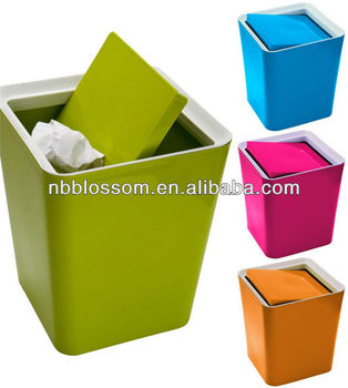 Small Plastic Storage Kitchen Recycle Waste Rubbish Dust Tidy Bin With Lid Clip