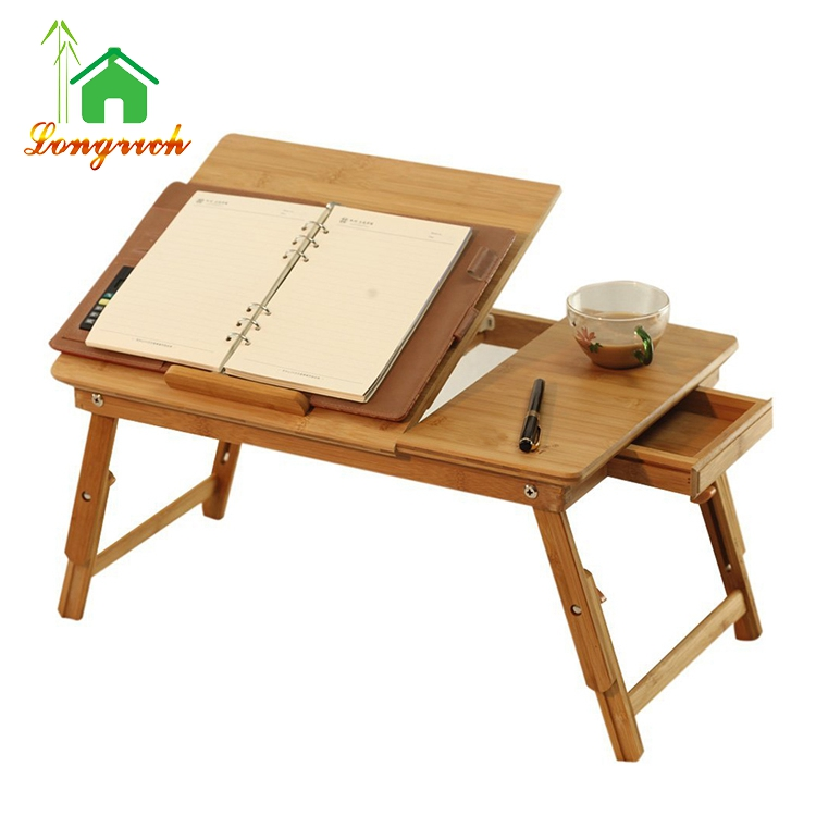 Portable Folding Bamboo adjustable laptop bed study table with tilting top and drawer