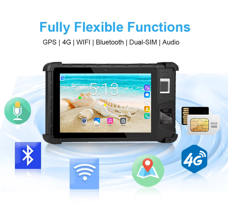 "FP08 8"" 4G bluetooth GPS IP65 rugged industry Android Tablet PC with fingerprint reader"