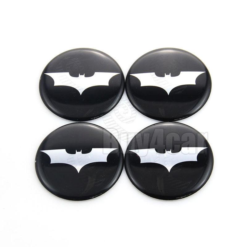 4 x 65mm Alloy Wheel stickers Batman Dark Knight Silver logo center badge cap