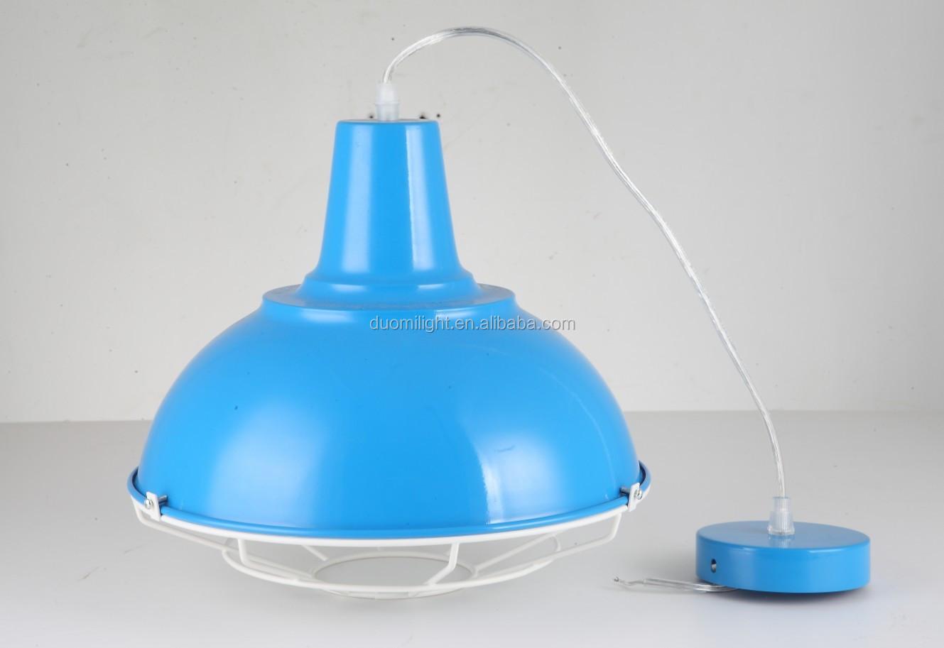 Wholesale lighting fixtures modern iron pendant lamp blue hanging lamp industrial for lighting design home