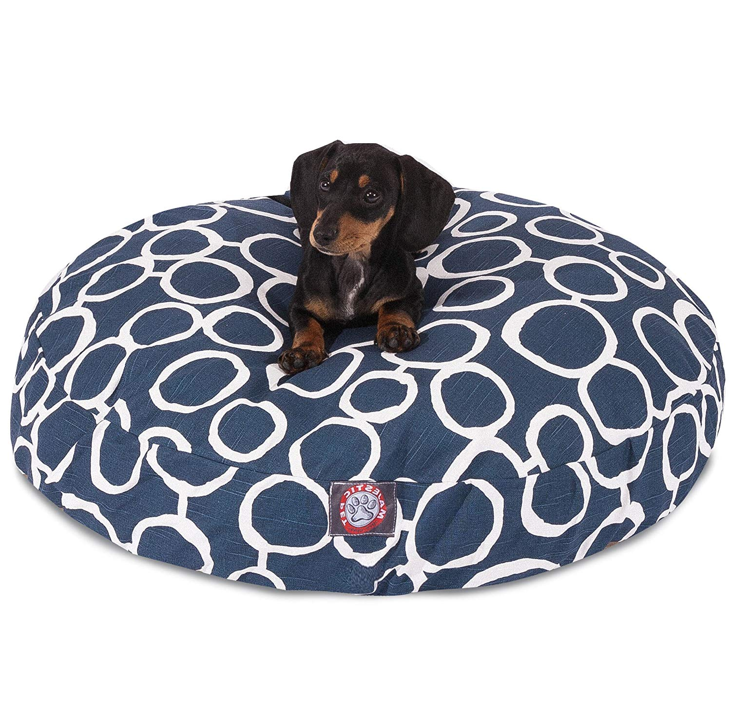 CU Small Navy Blue Circular Links Pattern Dog Bed, Beautiful Geometric Circles Print Pet Bedding, Round Shape, Features Water, Stain Resists, Removable Cover, Soft & Comfy Design, Cotton