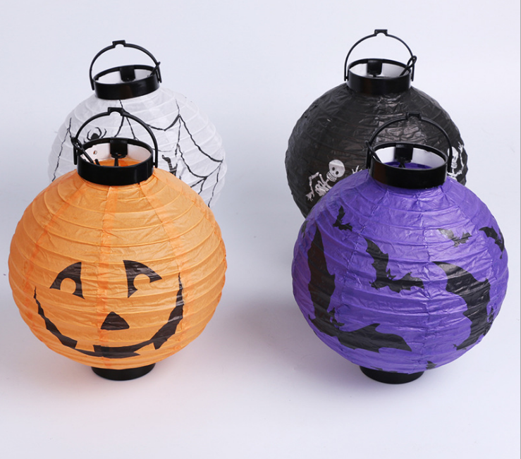 Happy Halloween Decoration 6 Inch Paper Lantern Printing Spider Bat Pumpkin for Party Supplies