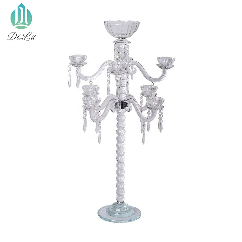 HOT SALE Long-stemmed crystal glass candle holder wedding centerpieces crystal candlestick tall candelabra for table decorations