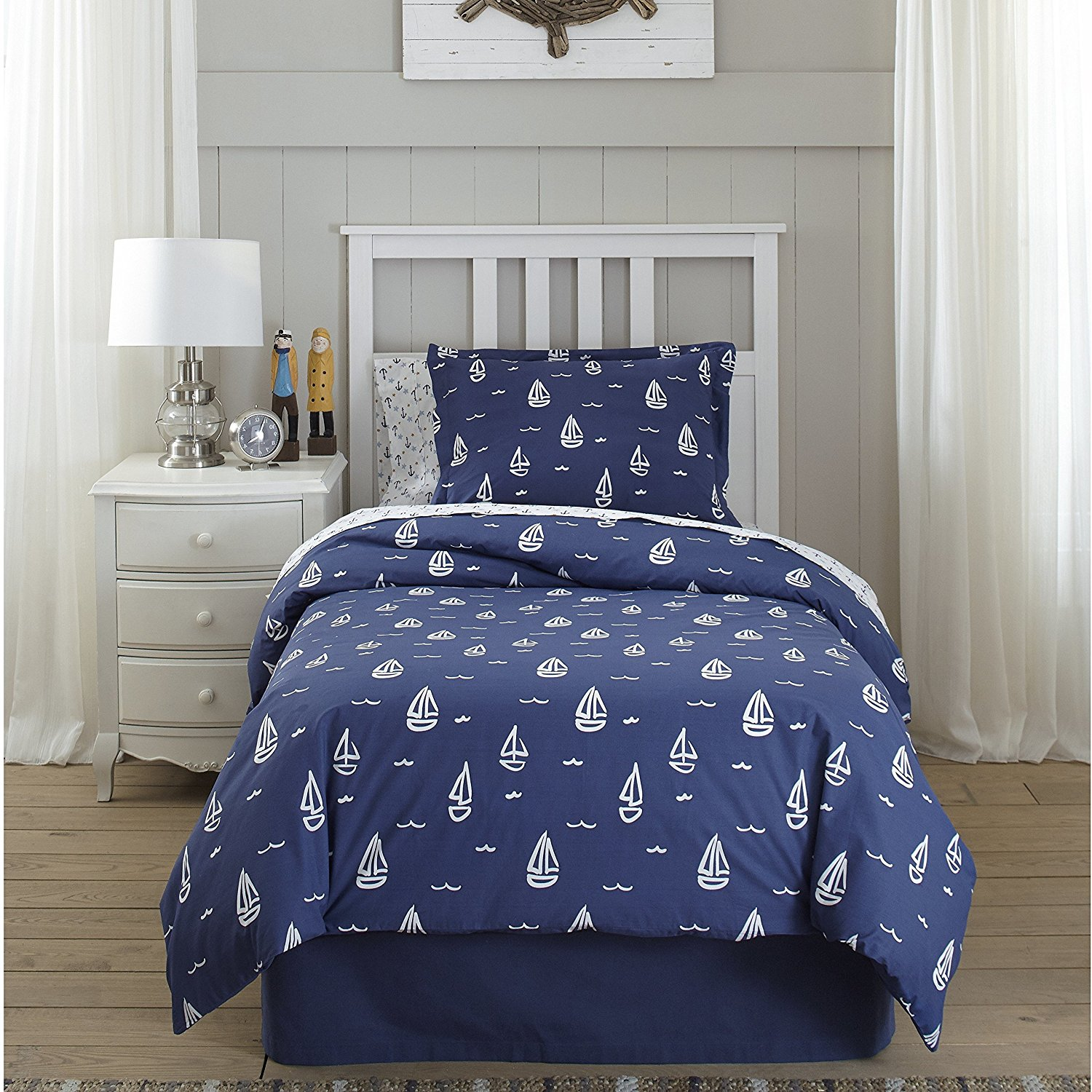 CA 4 Piece Boys Navy Blue White Nautical Comforter Set Queen, Light Blue Geometric Anchors Galore Teen Themed Reversible Kids Bedding for Bedroom Fancy Casual Colorful, Cotton