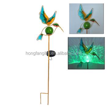 Solar Powered Metal Garden Glass Hummingbird Stake Led