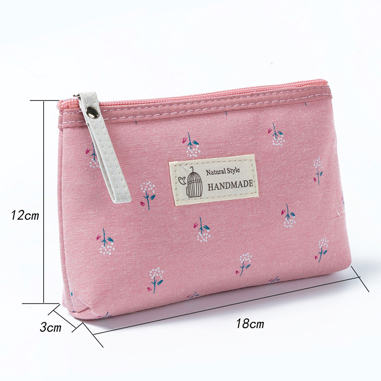 Promotional canvas hand carry makeup bag cosmetic organizer