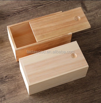 Burned Color Pine Paulownia Wood Light Weight Cheap Wooden Empty Packaging  Gift Box