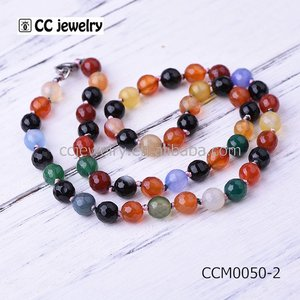 2017 Latest Designs Boho Agate stone Mala Beads Knot Necklace