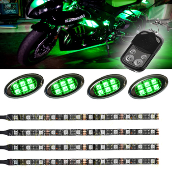 LED Multi Color Motorcycle Accent Glow 5050 Waterproof Flexible Strips light kit with Remote Controller