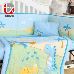 Cartoon roles design printed 100% cotton baby crib bumper pad set